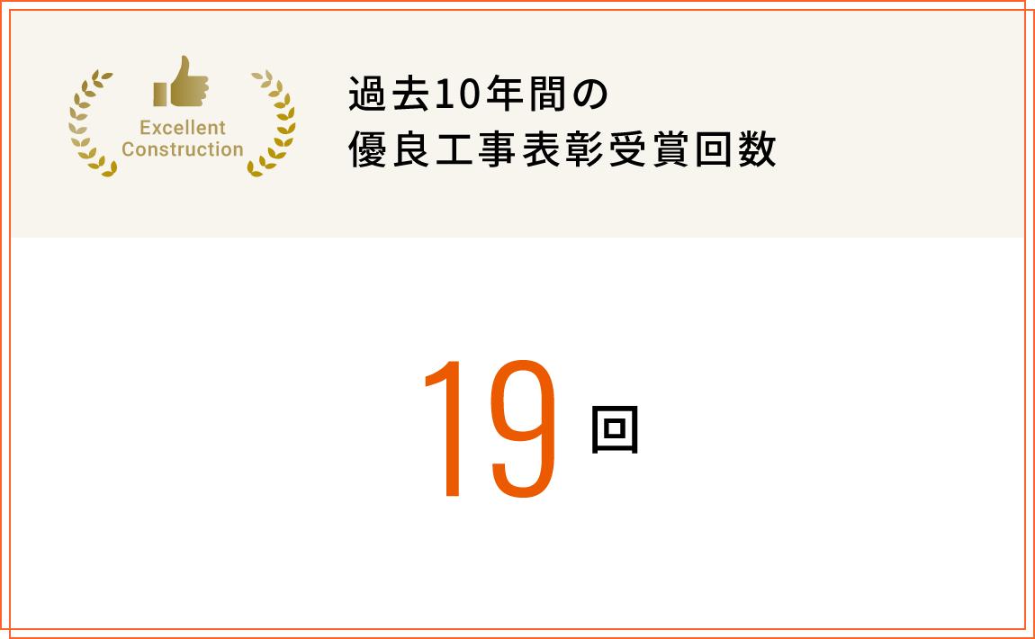 過去10年間の優良工事表彰受賞回数