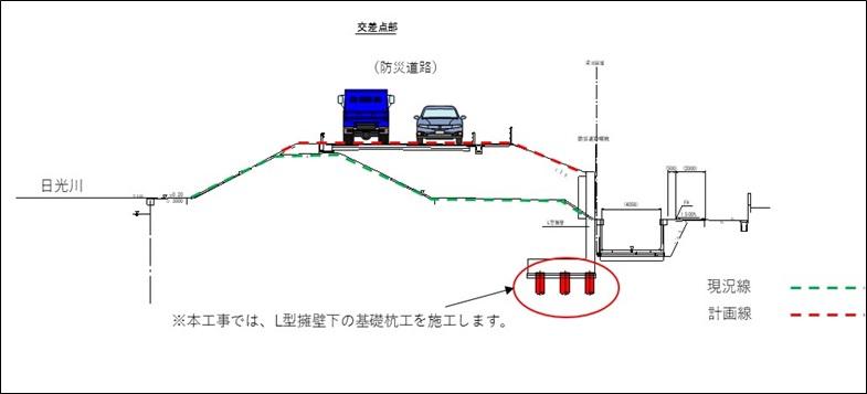 海部建設株式会社の道路工事(中小河川改良工事(防災安全))